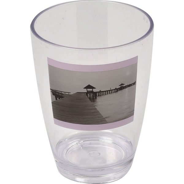 Evideco Clear Acrylic Printed Bath Tumbler Design Seaside