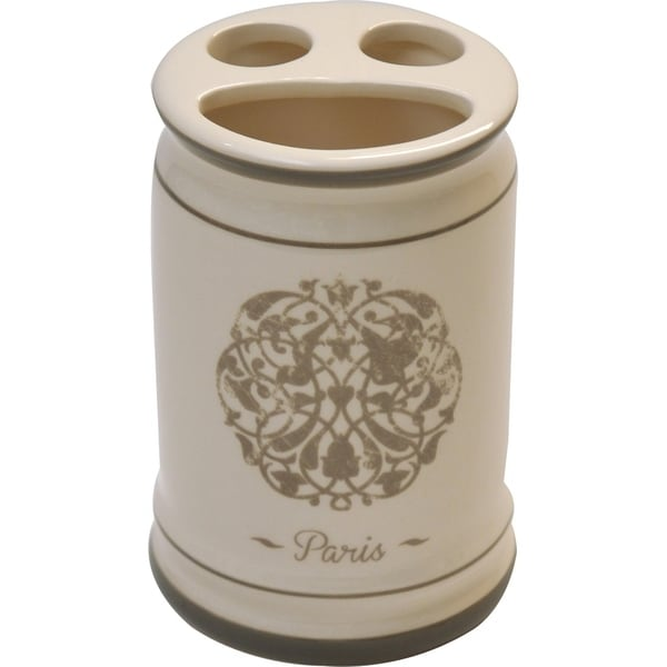Evideco Paris Romance Dolomite Toothbrush and Toothpaste Holder Beige
