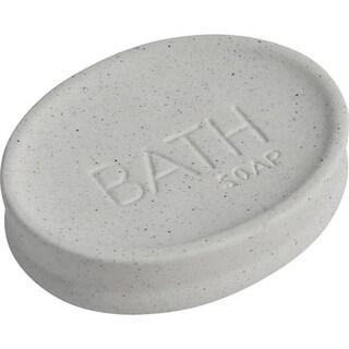 Evideco Stoneware Soap Dish Cup BATH Sand Stone Effect Natural (Option: Grey)