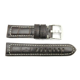 22mm Brown Genuine Leather Alligator Grain White Stitching Watch Strap