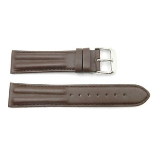 20mm Brown Genuine Leather Smooth Dual Twin Watch Band