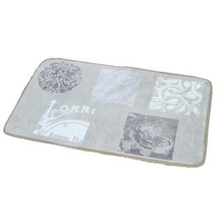 Evideco Microfiber Bath Mat Design Paris Romance Beige Bath Rug