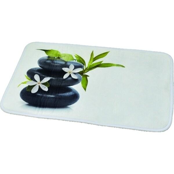 Evideco Microfiber Bath Mat Design Pebbles Ecobio Black 29.5L x 17W