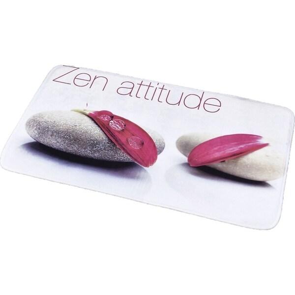 Evideco Microfiber Bath Mat Design ZEN ATTITUDE White Bath Rug