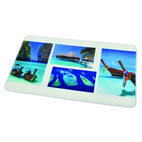 Printed Microfiber Bath Rug Paradise Blue 17w X 29.5l