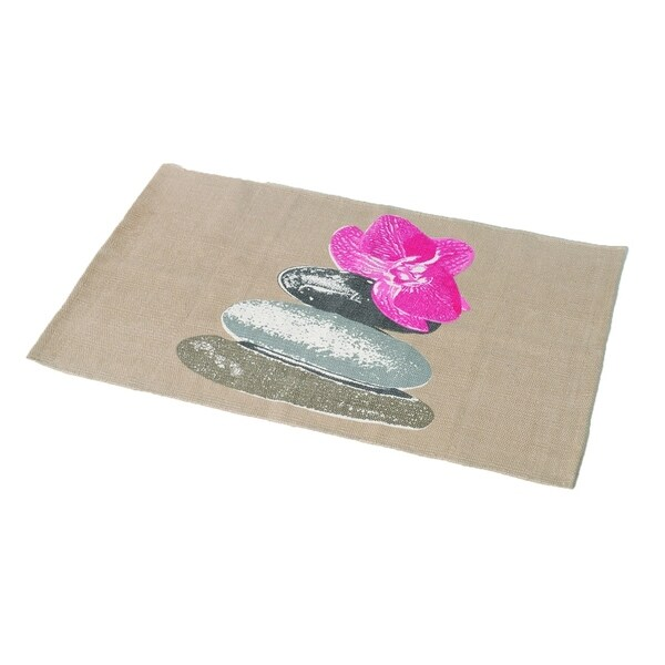 Evideco Printed Border Cotton Bath Mat Design SPA Gray/Pink