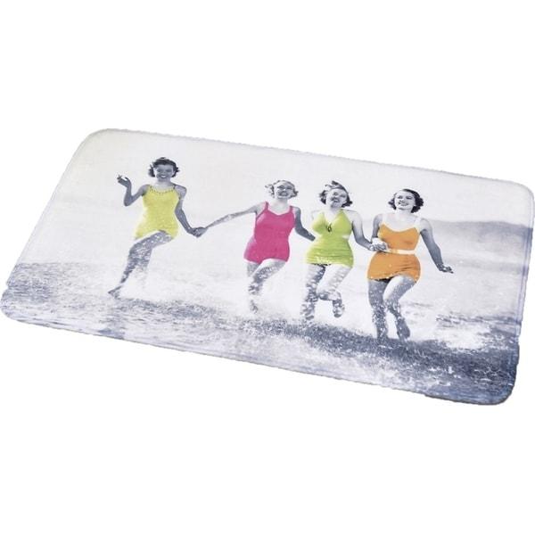 Evideco Microfiber Bath Mat Design WOMEN ON THE BEACH gray Bath Rug