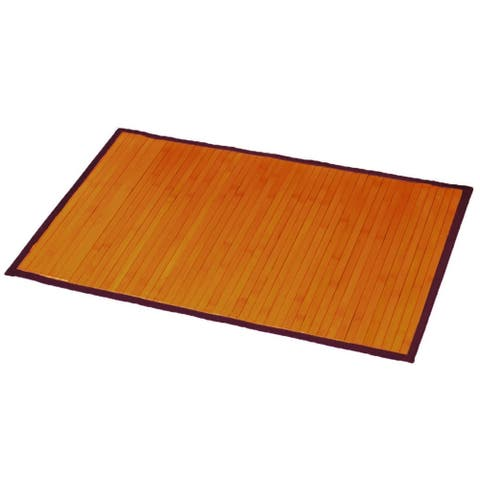 "Bamboo Rug Bath Mat Anti Slippery 31.5 L x 20""W Light Brown"