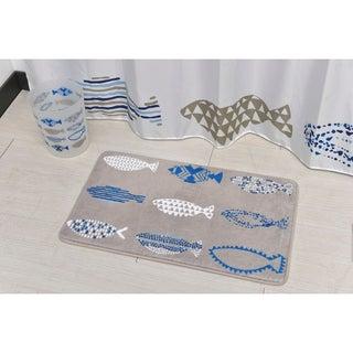 Evideco Microfiber Bath Mat Design Nautical Blue Bath Rug