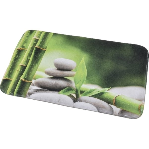 Shop Evideco Microfiber Bath Mat Design Zen And Co Green