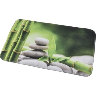 Evideco Microfiber Bath Mat Design Zen and Co Green Bath Rug