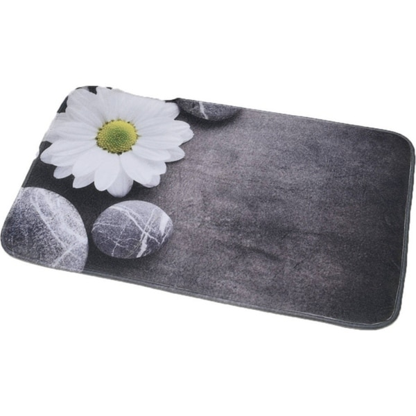 My Dog Ate Carpet Fibers: Shop Evideco Microfiber Bath Mat Design ZEN GARDEN Gray