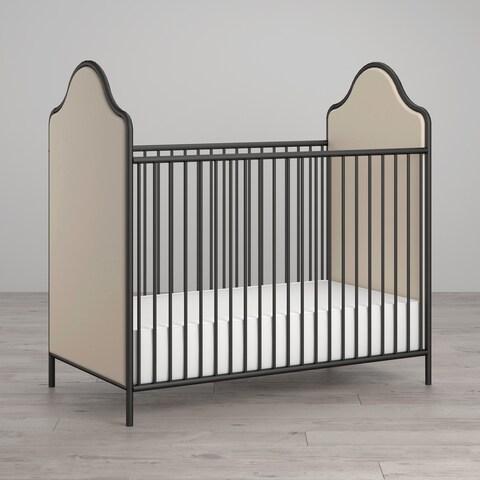Little Seeds Piper Upholstered Black Metal Crib