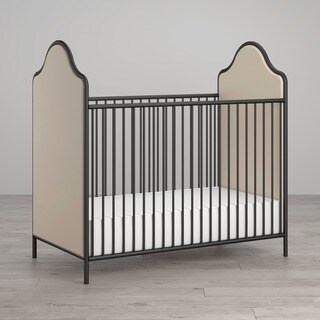Little Seeds Piper Upholstered Black Metal Crib