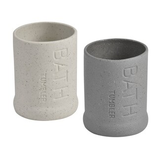 Evideco Stoneware Water Tumbler Design Bath Sand Stone Effect (Option: Grey)
