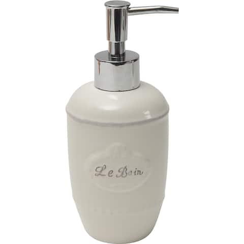 Evideco Collection Le Bain Stoneware Bathroom Soap Dispenser White - Tan