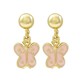 Luxiro Sterling Silver Enamel Butterfly Children's Dangle Earrings (2 options available)