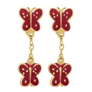 Luxiro Sterling Silver Red Enamel Double Butterfly Children's Dangle Earrings
