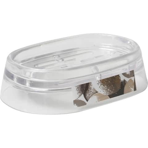 Evideco Clear Acrylic Soap Dish Cup Design Spa - Gray,Pink, Purple, White, Multi - 5.12 L x 3.54 W x 1.37 H