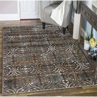 Plaza Style Brown Area Rug (3'3 x 4'11) - 3'3 x 4'11