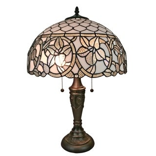 Amora Lighting AM273TL16 Tiffany Style Floral White Table Lamp