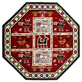Red Traditions Tribal (6'x6') Octagon Rug - 6' x 6' Octagon