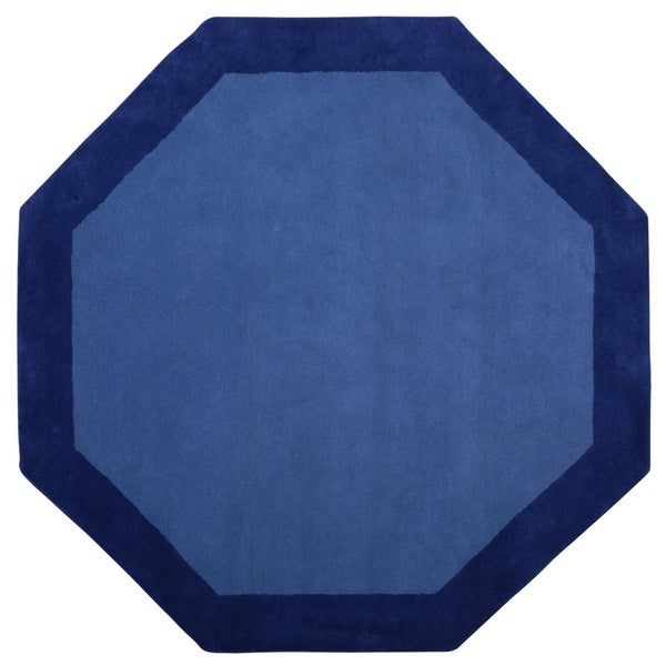 Blue Border Wool Rug. Opens flyout.