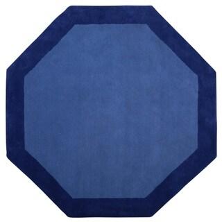 Blue Border (6'x6') Octagon Rug