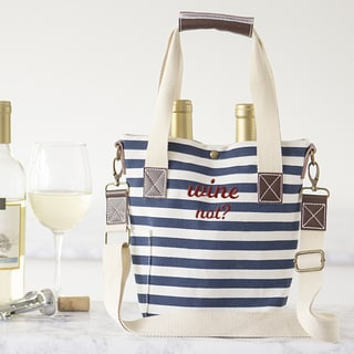 Wine Not Striped Canvas Wine Tote
