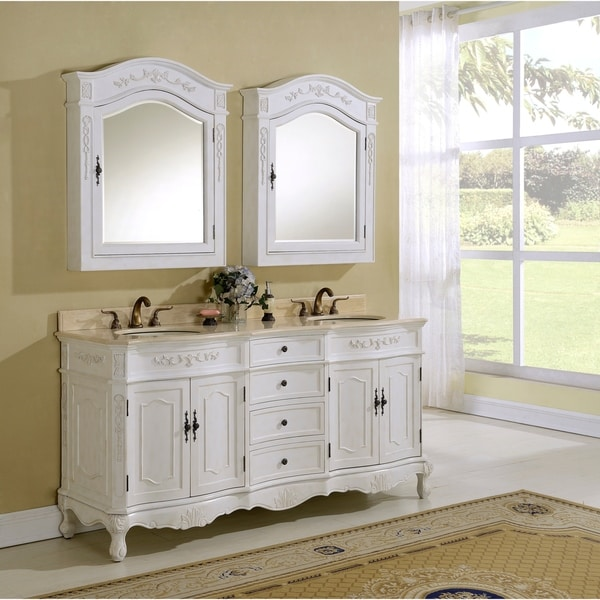 Heritage Milan Antique White Double Vanity with Marble Countertop