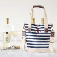 Personalized Striped Canvas Wine Tote