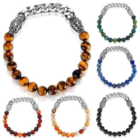 Men's Stainless Steel Buddha Natural Stone Bead Stretch Bracelet