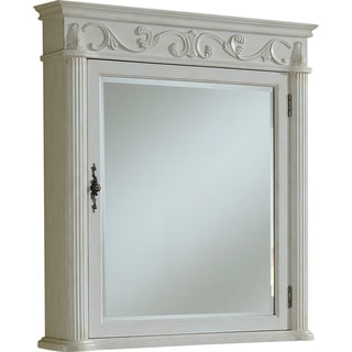 "Roman 32"" Antique White Medicine Cabinet"