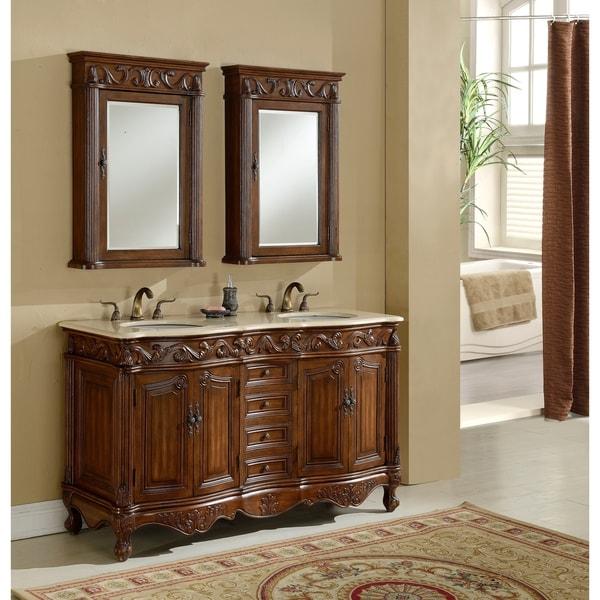 Heritage Roman Teak-Finished Wooden Bathroom Vanity