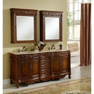 Heritage Roman Teak/Birchwood/Marble Double Sink Bathroom Vanity