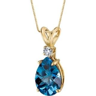 Oravo 14 Karat Yellow Gold Pear Shape 2.00 Carats London Blue Topaz Diamond Pendant - Silver