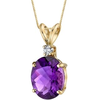 Oravo 14 Karat Yellow Gold Oval Shape 2.00 Carats Amethyst Diamond Pendant - Silver