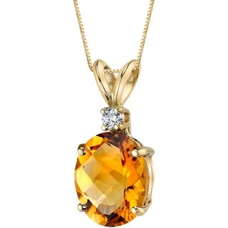 Oravo 14 Karat Yellow Gold Oval Shape 2.25 Carats Citrine Diamond Pendant - Silver