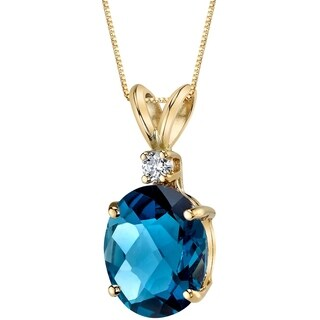 Oravo 14 Karat Yellow Gold Oval Shape 3.00 Carats London Blue Topaz Diamond Pendant - Silver