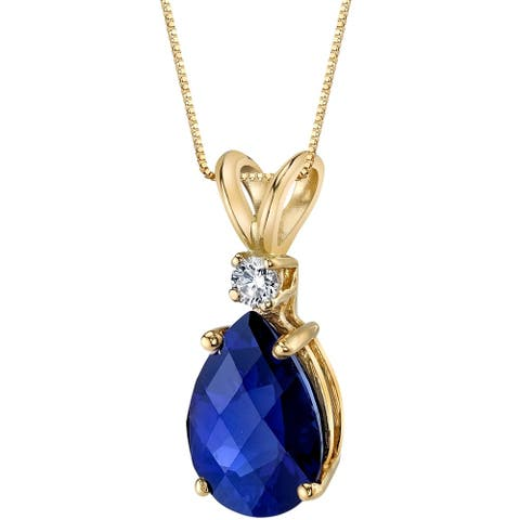 Oravo 14 Karat Yellow Gold Pear Shape 2.50 Carats Created Blue Sapphire Diamond Pendant - Silver
