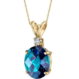 Oravo 14 Karat Yellow Gold Oval Shape 3.25 Carats Created Alexandrite Diamond Pendant - Silver