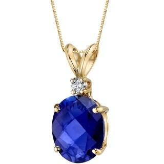 Oravo 14 Karat Yellow Gold Oval Shape 3.50 Carats Created Blue Sapphire Diamond Pendant - Silver