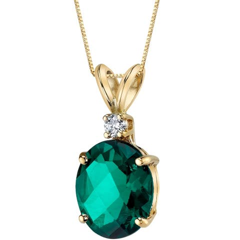 Oravo 14 Karat Yellow Gold Oval Shape 2.50 Carats Created Emerald Diamond Pendant - Silver