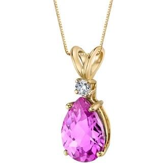 Oravo 14 Karat Yellow Gold Pear Shape 2.50 Carats Created Pink Sapphire Diamond Pendant - Silver