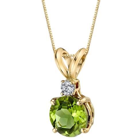 Oravo 14 Karat Yellow Gold Round Cut 1.00 Carats Peridot Diamond Pendant - Silver