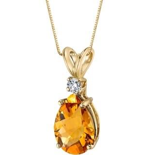 Oravo 14 Karat Yellow Gold Pear Shape 1.50 Carats Citrine Diamond Pendant - Silver