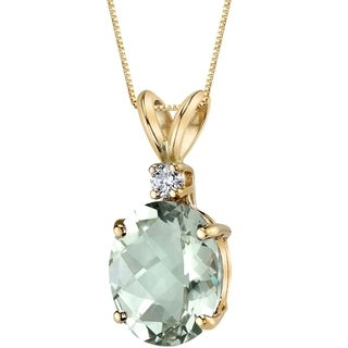 Oravo 14 Karat Yellow Gold Oval Shape 2.25 Carats Green Amethyst Diamond Pendant - Silver