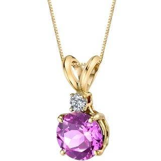 Oravo 14 Karat Yellow Gold Round Cut 1.50 Carats Created Pink Sapphire Diamond Pendant - Silver
