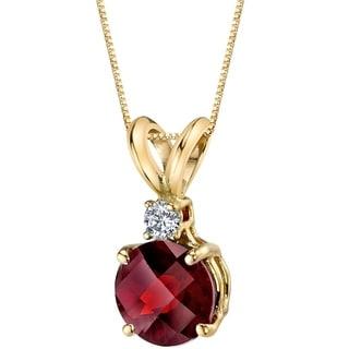 Oravo 14 Karat Yellow Gold Round Cut 1.50 Carats Garnet Diamond Pendant - Silver