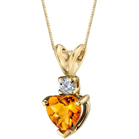 Oravo 14 Karat Yellow Gold Heart Shape 0.75 Carats Citrine Diamond Pendant - Silver